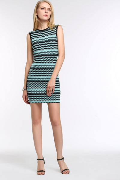Chevron Stripe Knit Bodycon Dress 1508305 BLUE