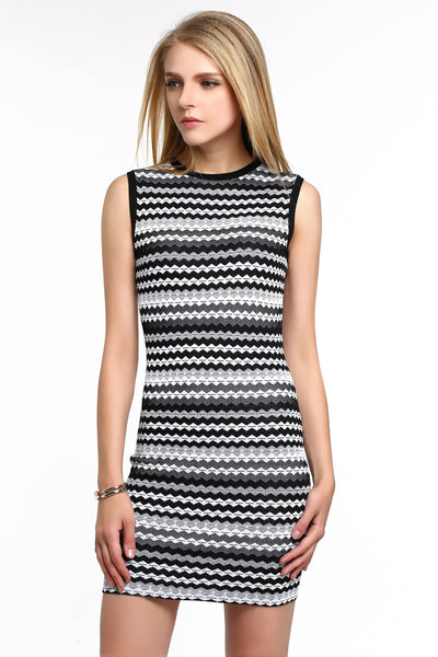 Chevron Stripe Knit Bodycon Dress 1508305 WHITE