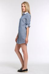 Roll Tab Sleeve Shirt Dress w/ Two Tones 1502204
