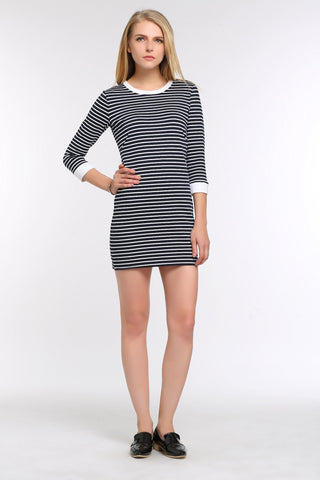 Fitted Stripe Three-Quarter Sleeve Dress 1502103