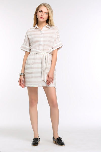 Belted Linen Shift Dress 1501202 BEIGE/WHITE