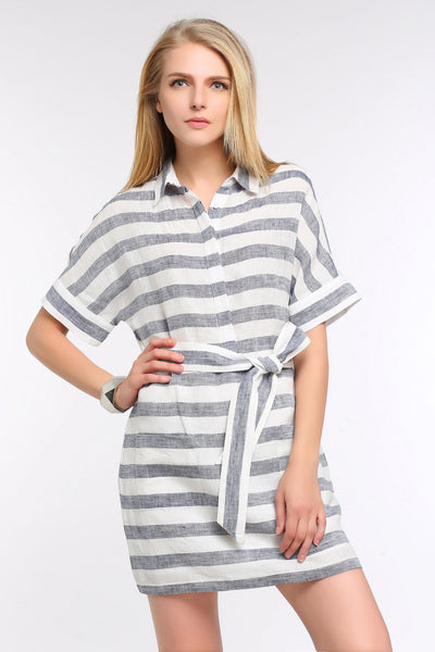 Belted Linen Shift Dress 1501202 BLUE/WHITE