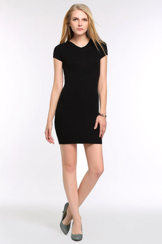 Stretch-Knit Bodycon Black Dress 1503301