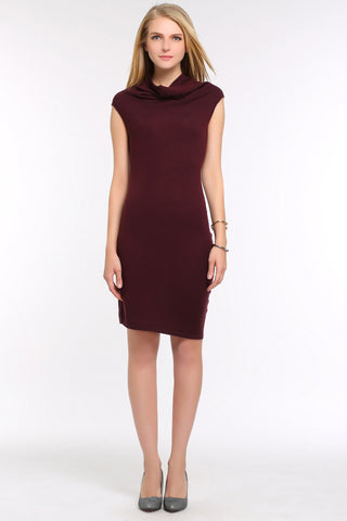Cowl-Neck Knit Bodycon Dress 1507302 RED WINE