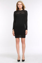 Stripe Dress with Sheer Detailing 1506305 BLACK