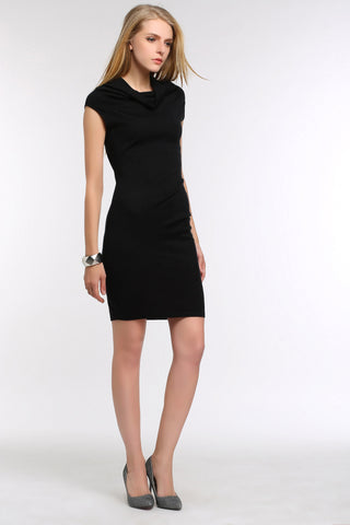 Cowl-Neck Knit Bodycon Dress 1507302 BLACK