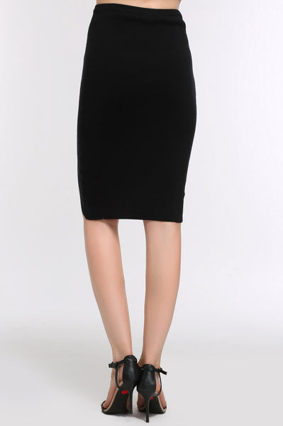 High-Low Pencil Skirt 1507303 BLACK