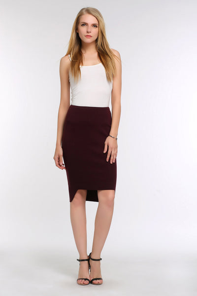 High-Low Pencil Skirt 1507303 RED WINE