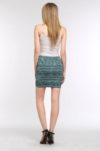 Marble Bodycon Mini Skirt 1508303 DARK GREEN