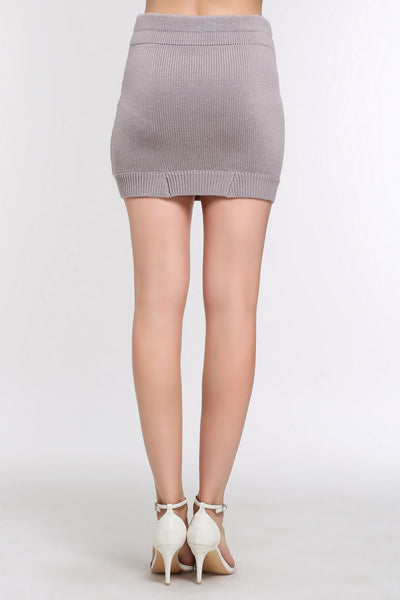Mini Zippered Sweater Skirt 1506304 GREY PURPLE