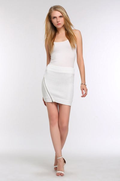 Mini Zippered Sweater Skirt 1506304 WHITE
