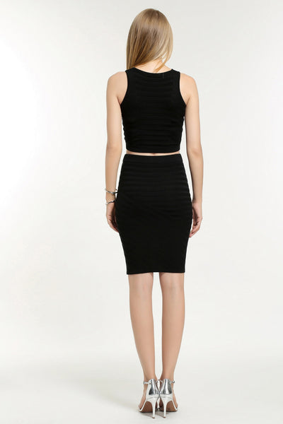 SLEEVELESS TWO PIECE DRESS BOTTOM 1608301 BLACK