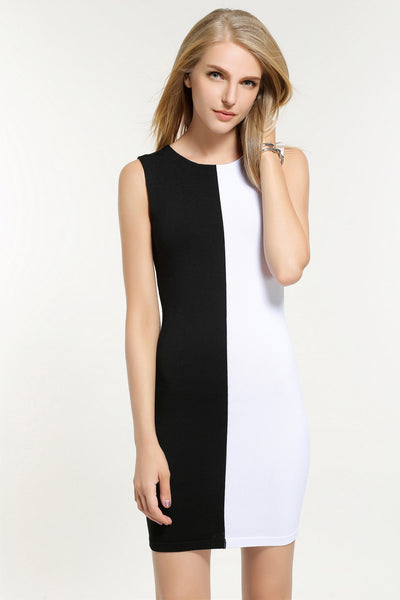ALICIA TWO TONE DRESS 1603304 BLACK/WHITE