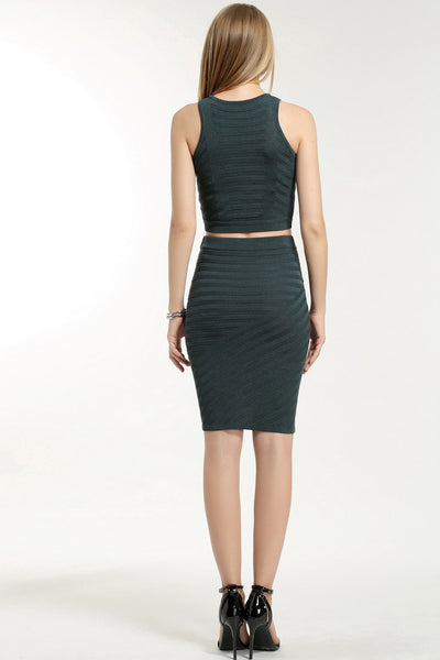 SLEEVELESS TWO PIECE DRESS TOP 1608302 DARK GREEN