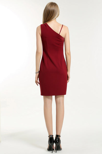 ONE SHOULDER STRAP DRESS 1608204 MAROON