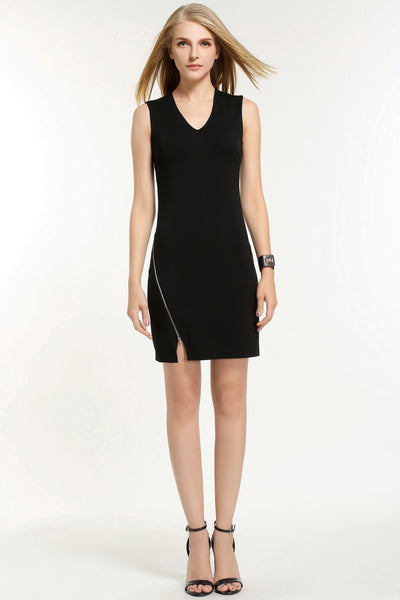 OFF-CENTRE ZIP FASTENING DRESS 1602109 BLACK