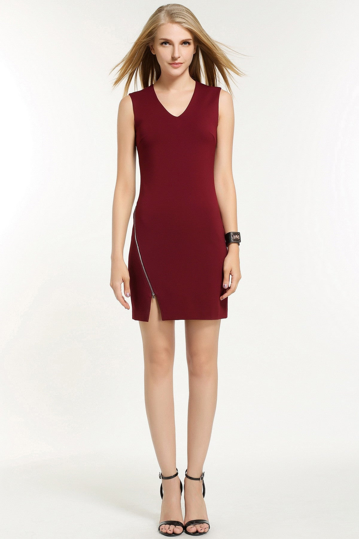 OFF-CENTRE ZIP FASTENING DRESS 1602109 RED WINE