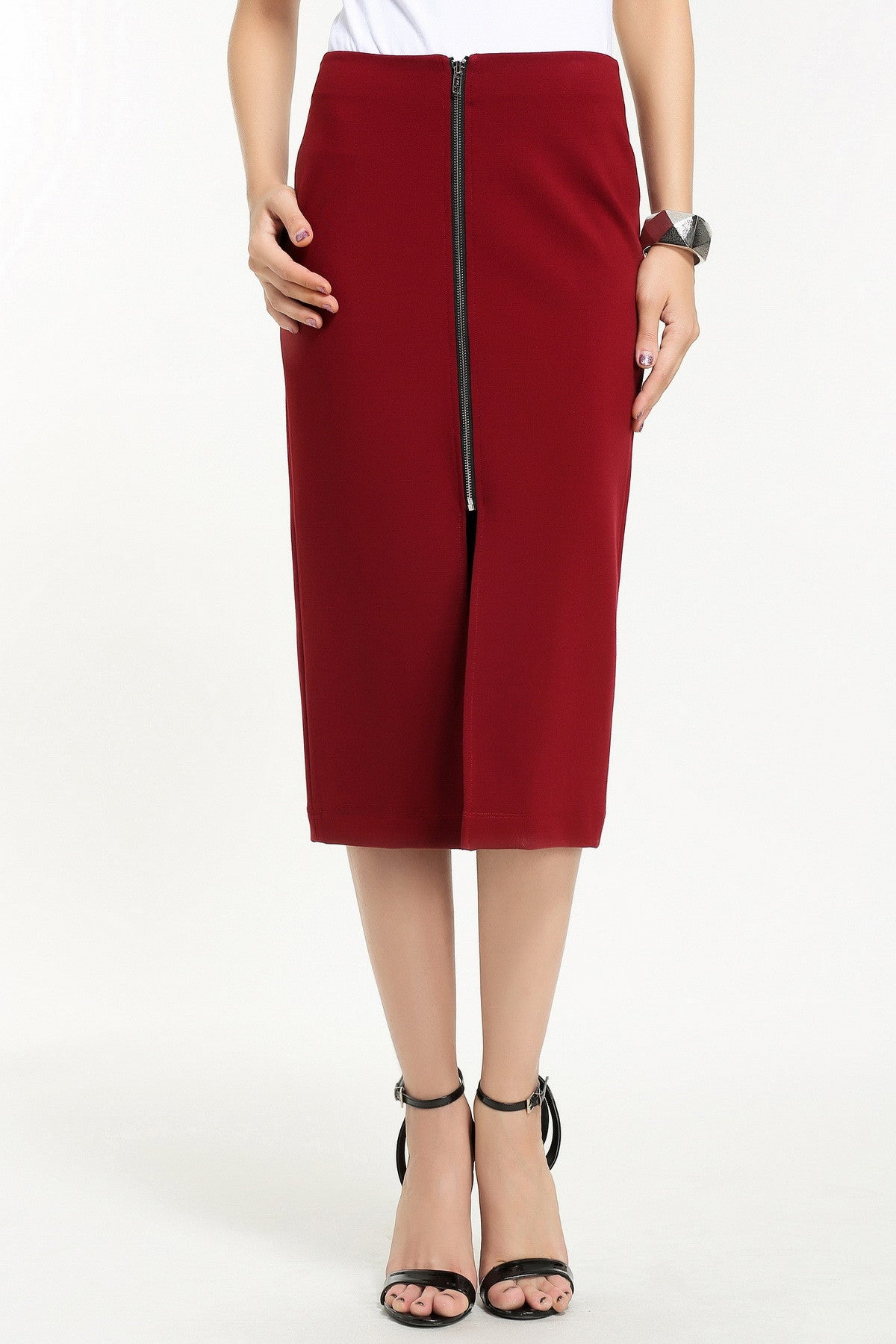 FRONT ZIP PENCIL SKIRT 1606120 RED WINE
