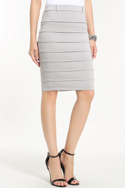 KNEE LENGTH KNIT SKIRT 1606304 GREY
