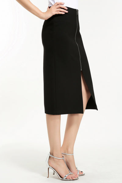FRONT ZIP PENCIL SKIRT 1606120 BLACK