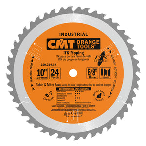 CMT 250.024.10 ITK Industrial Rip Saw Blade, 10-Inch