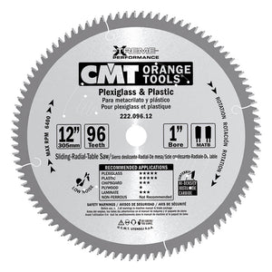 CMT 222.096.12 Industrial Plexiglass and Plastic Saw Blade, 12-Inch