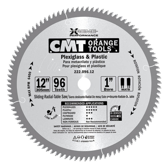 CMT 222.080.10 Industrial Plexiglass and Plastic Saw Blade, 10-Inch