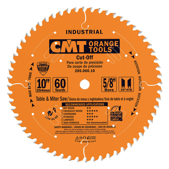 CMT 205.060.10 Industrial Cut-Off ATB Saw Blade, 10-Inch