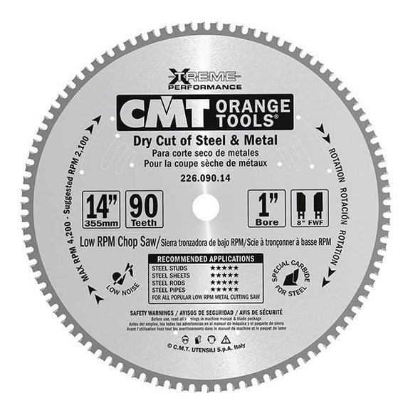 CMT 226.090.14 Industrial Dry Cut Steel Saw Blade, 14-Inch