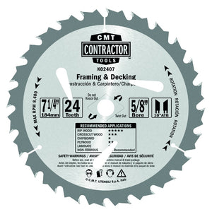 CMT K02408 ITK Contractor Framing/Decking Saw Blade, 8-1/4