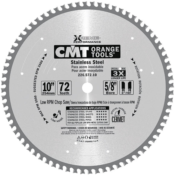 CMT 226.572.10 Stainless Steel Saw Blade, 10-Inch