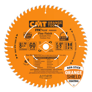 CMT P08060S ITK Plus Finish Sliding Compound Miter Saw Blade, 8-1/2