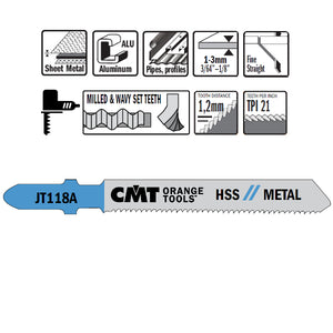 CMT JT118A-5 Jig Saw Blades for Metal – 5-Pack