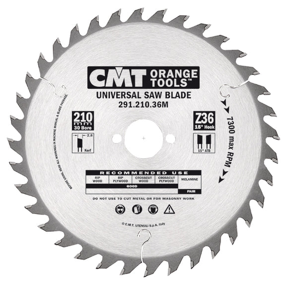 CMT 291.210.36M General Purpose Saw Blade, 8-1/4-Inch ATB