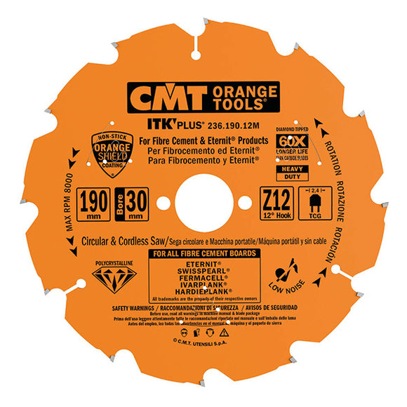 CMT 236.004.07 ITK PLUS Diamond Saw Blade for Fiber Cement Products, 7-1/4-Inch