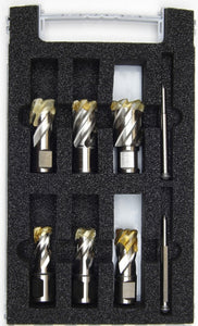 "FEIN 6-piece HSS Cutter Set  with 2 pilot pins - 1"" or 2"" Depth of cut"