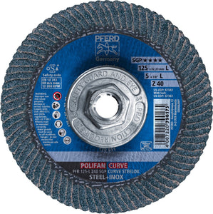 5 in. x 5/8-11 POLIFAN® CURVE Flap Disc, SGP, Zirconia, 40 Grit,