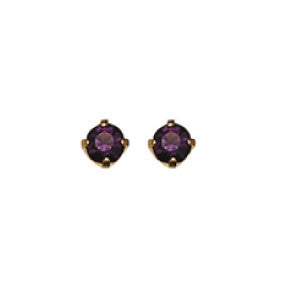 Inverness 82C - 24KT CZ Earrings 3MM AMETHYST TIFFANY FEBRUARY | Absolute Beauty Source