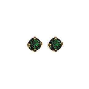 Inverness 85C - 24KT CZ Earrings 3MM EMERALD TIFFANY MAY | Absolute Beauty Source