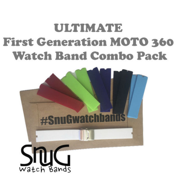 """The Ultimate"" (1st Gen) Moto 360 SnuG Watchbands Accessorizer Watch Band Combo Pack (1st Gen)"
