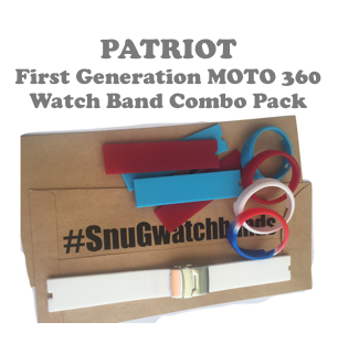 """Patriot"" SnuG Watchbands First generation Moto 360 Watch Band Combo Pack Set"