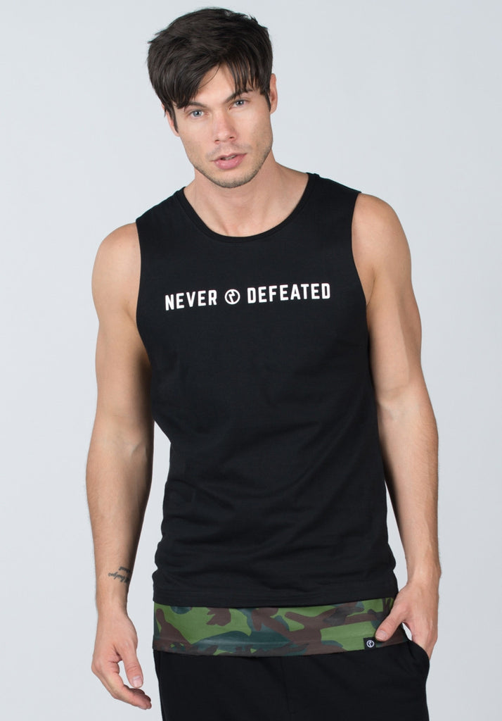 Never Defeated Tank Top #Black
