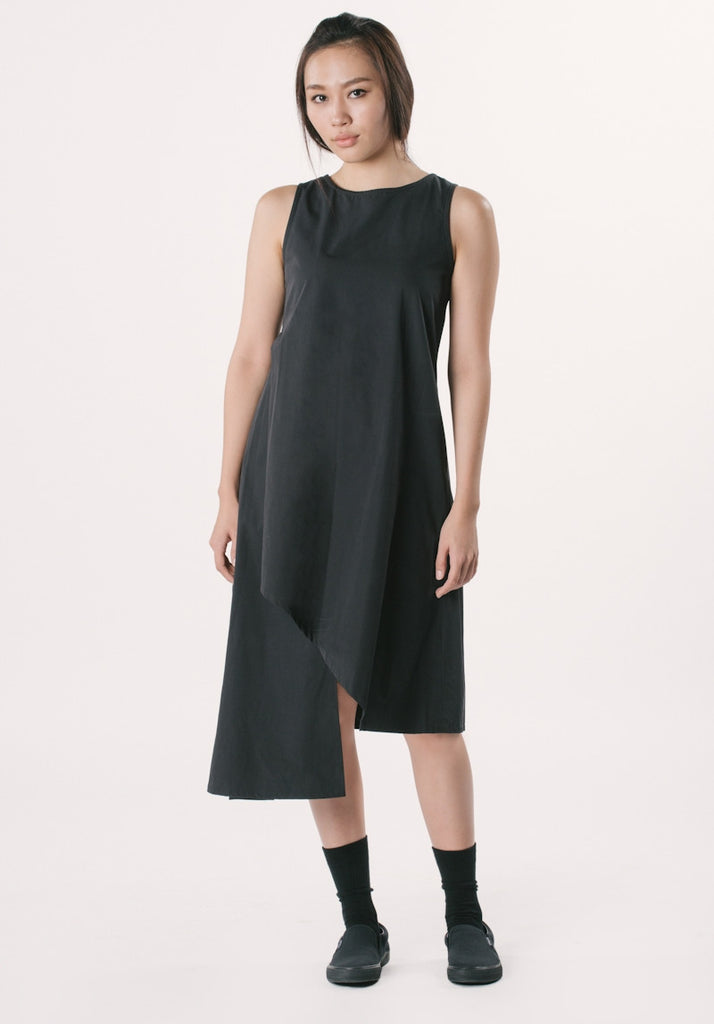 Kozo Asymmetrical Sleeveless Dress - Black