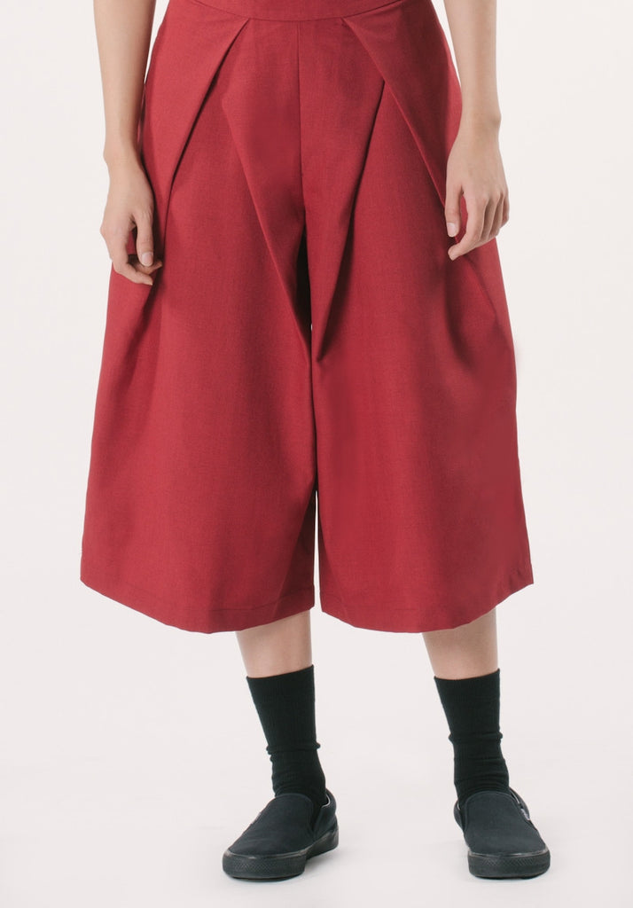 Kozo Cropped Pants - Maroon