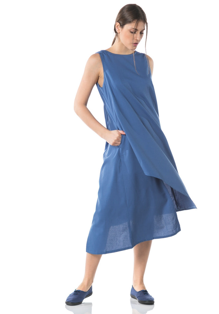 Kozo Asymmetrical Sleeveless Dress - Blue