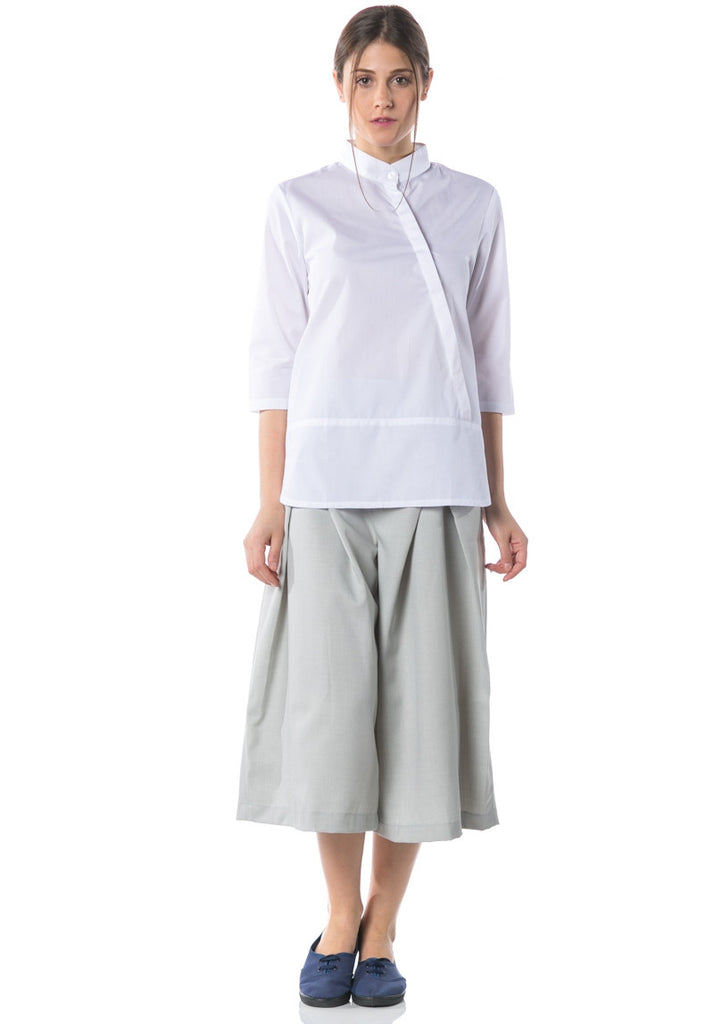 Kozo 3-4 Sleeve Shirt with Buttons - White