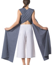 Kozo X-Cropped Top with Side Drapes - Dark Grey