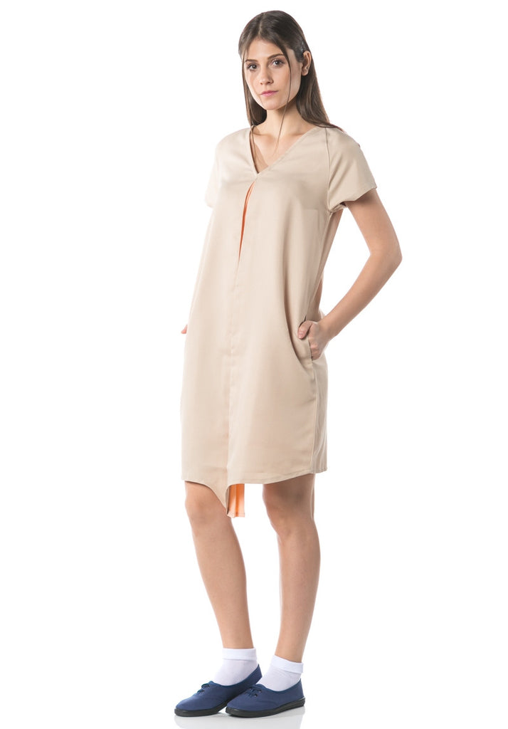 Kozo V-neck Dress Dual Colour - Peach