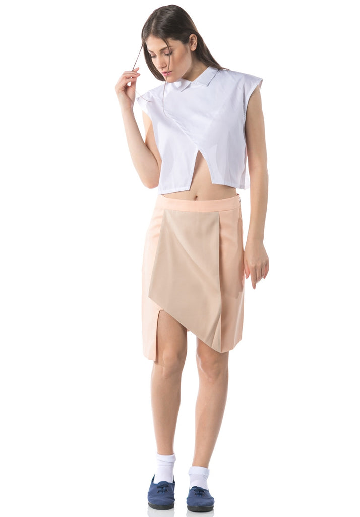 Kozo Collared Cropped Top - White