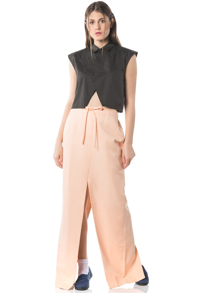 Kozo Long Skirt with Slit - Peach